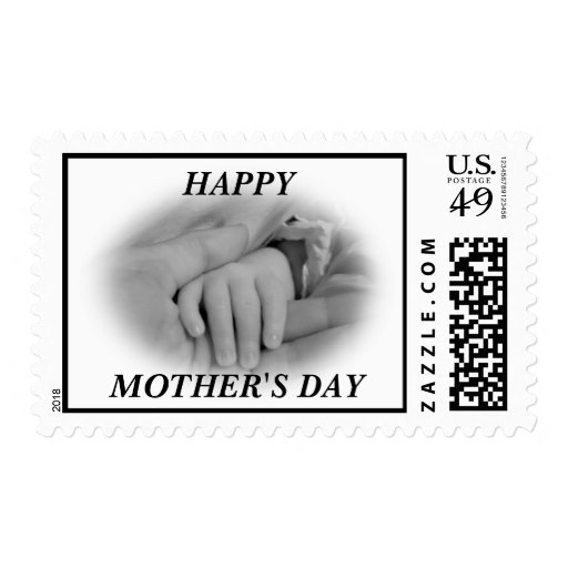 New Mom and Baby Holding Hands Photo Stamp
