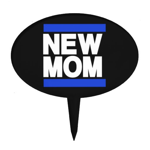 New Mom Blue Cake Toppers
