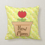 New Mom, Cute Red Tulip Flower Throw Pillow