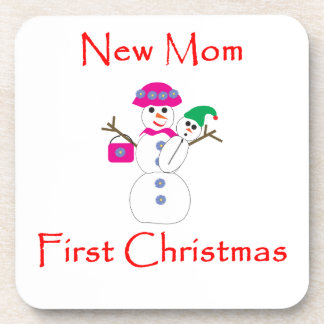 New Mom First Christmas Coaster