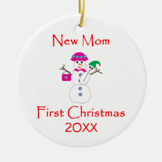 New Mom First Christmas Double-Sided Ceramic Round Christmas Ornament
