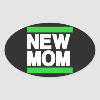 New Mom Green Oval Sticker