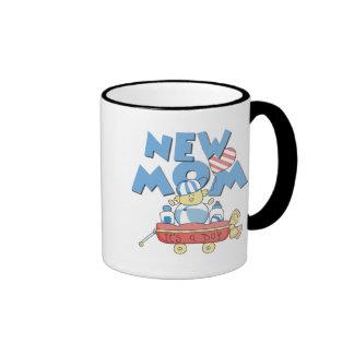 New Mom It's a Boy Tshirts and Gifts Ringer Mug