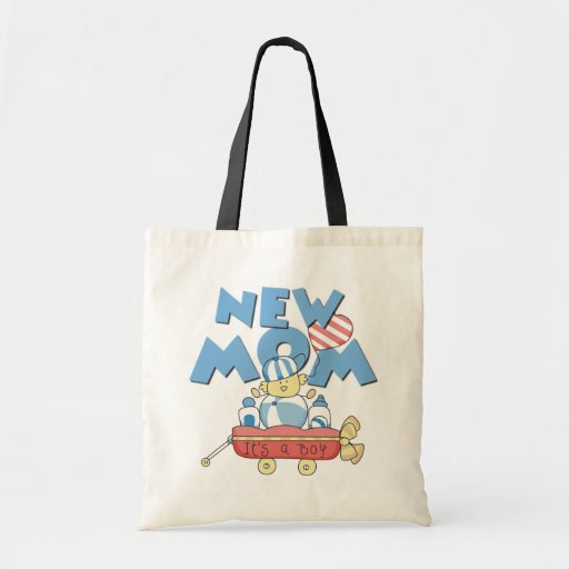 New Mom It's a Boy Tshirts and Gifts Tote Bags