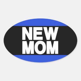 New Mom Lg Blue Oval Sticker