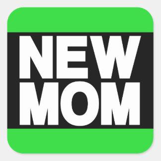 New Mom Lg Green Square Sticker
