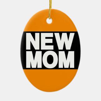 New Mom Lg Orange Double-Sided Oval Ceramic Christmas Ornament