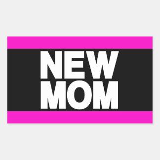 New Mom Lg Pink Rectangular Sticker