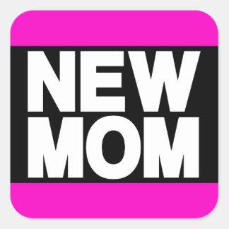 New Mom Lg Pink Square Sticker