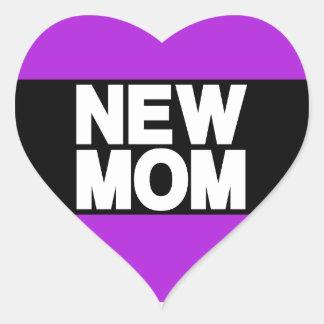 New Mom Lg Purple Heart Sticker