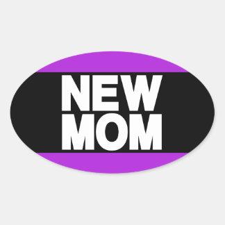 New Mom Lg Purple Oval Sticker