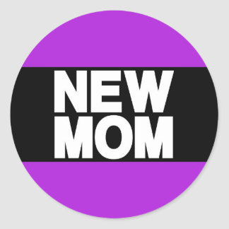New Mom Lg Purple Classic Round Sticker