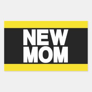 New Mom Lg Yellow Rectangular Sticker