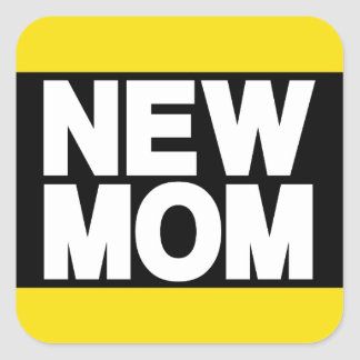 New Mom Lg Yellow Square Sticker