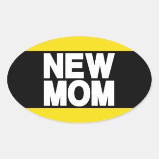 New Mom Lg Yellow Oval Sticker