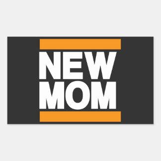 New Mom Orange Rectangular Sticker