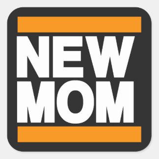 New Mom Orange Square Sticker