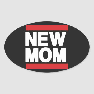 New Mom Red Oval Sticker