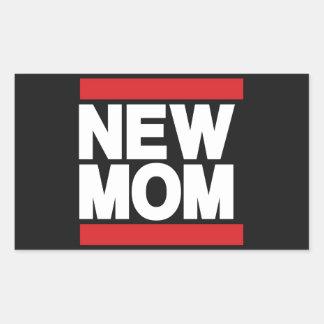 New Mom Red Rectangular Sticker