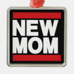 New Mom Red Square Metal Christmas Ornament