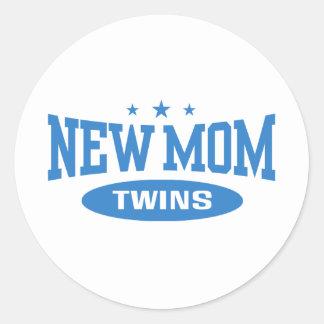 New Mom Twins Classic Round Sticker