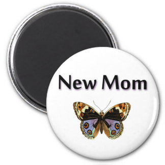 New Mom with Butterfly Illustration 2 Inch Round Magnet