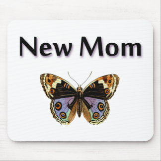 New Mom with Butterfly Illustration Mouse Pad