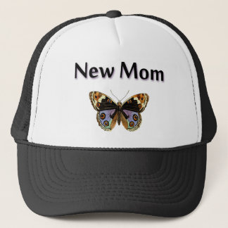 New Mom with Butterfly Illustration Trucker Hat