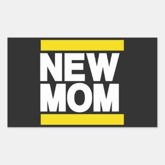 New Mom Yellow Rectangular Sticker