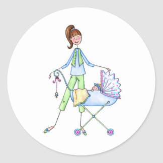 New Mommy Baby Boy Stroller Classic Round Sticker
