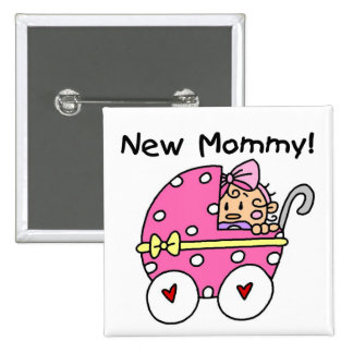 New Mommy Baby Girl Tshirts and Gifts 2 Inch Square Button