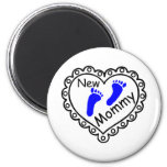 New Mommy Boy Blue Heart Magnets