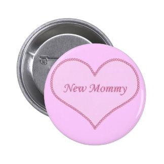 New Mommy Button, Pink 2 Inch Round Button