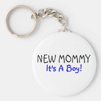 New Mommy Its A Boy Blue Keychain