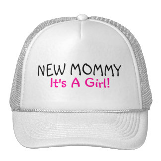New Mommy Its A Girl Pink Black Trucker Hat