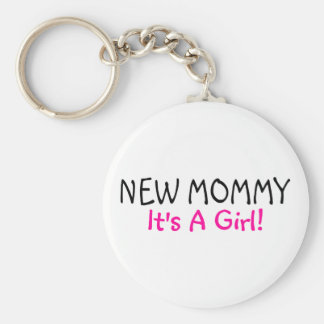 New Mommy Its A Girl Pink Black Keychains