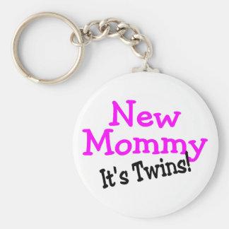 New Mommy Its Twins Keychain