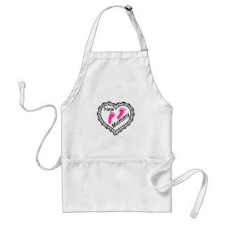 New Mommy Pink Footprints Heart Apron