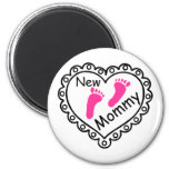 New Mommy Pink Footprints Heart Refrigerator Magnets