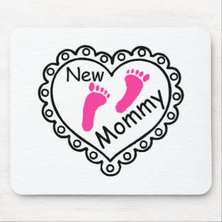 New Mommy Pink Footprints Heart Mouse Pad
