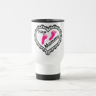 New Mommy Pink Footprints Heart Travel Mug
