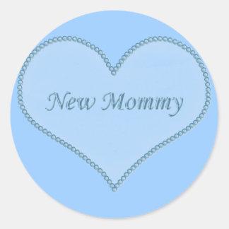 New Mommy Stickers, Blue Classic Round Sticker