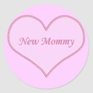 New Mommy Stickers, Pink Classic Round Sticker