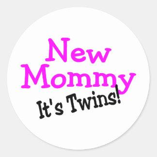 New Mommy Twin Girls Classic Round Sticker