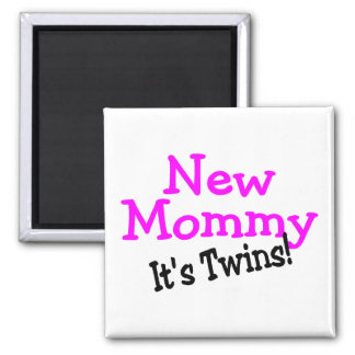 New Mommy Twin Girls 2 Inch Square Magnet