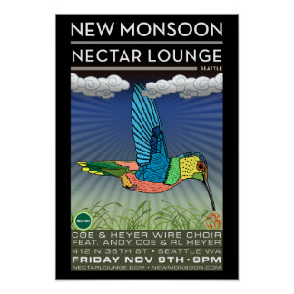 New Monsoon Nectar Lounge Seattle WA 2012 Poster