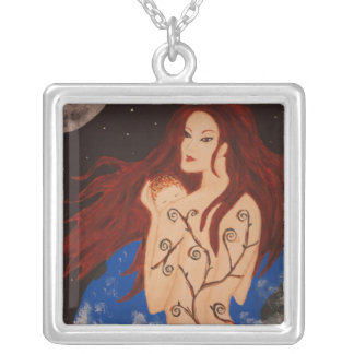 New Mother and the Moon Square Pendant Necklace