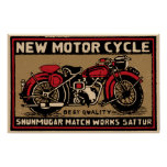 New Motor Cycle Safe Match Label Poster