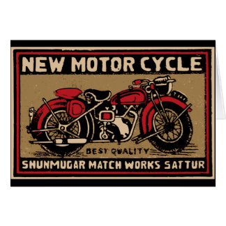 New Motorcycle Safety Match Label Card