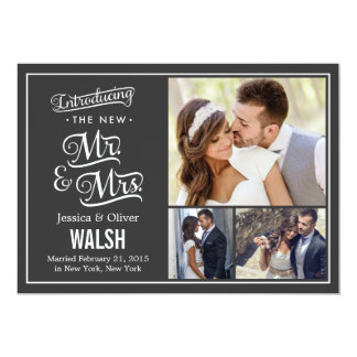 "New Mr and Mrs Wedding Announcement - Charcoal 5"" X 7"" Invitation Card"
